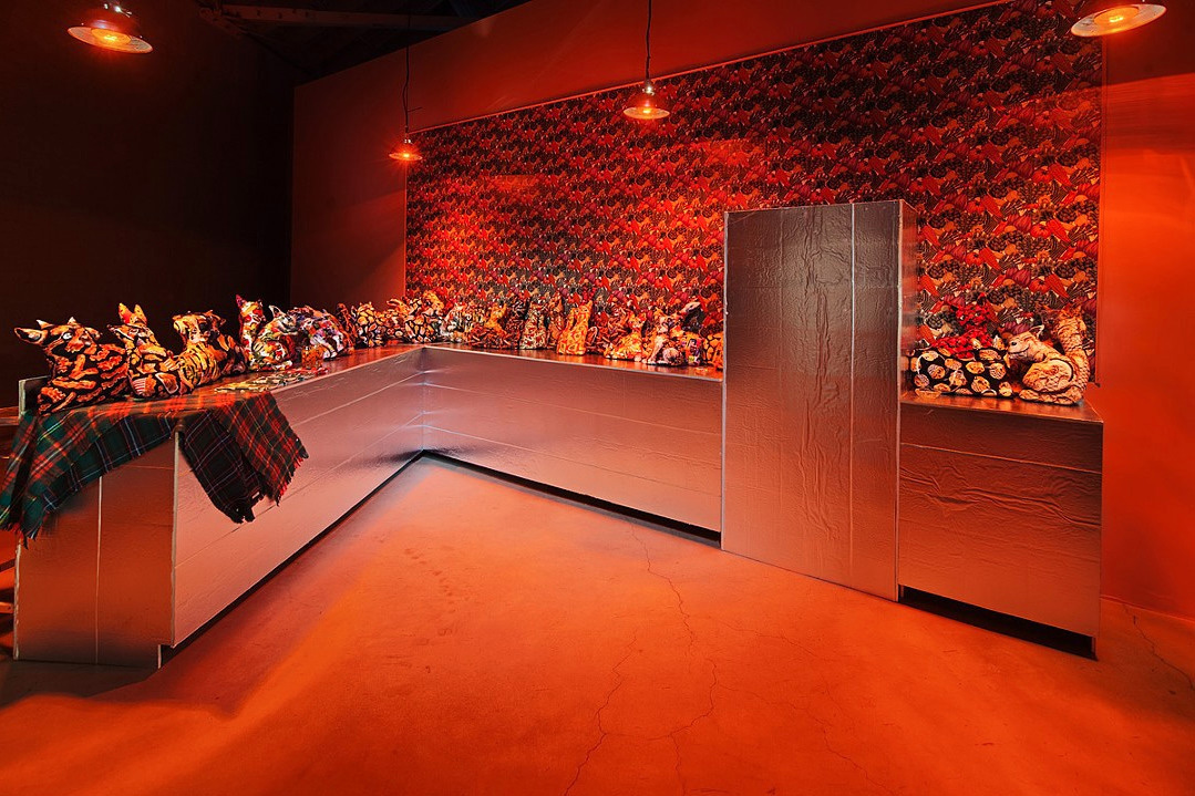 Samara Golden, <em>Mass Murder</em>, 2014. Mixed media installation. Dimensions variable. Installation view of Red Room, Night Gallery, Los Angeles. Courtesy Night Gallery.