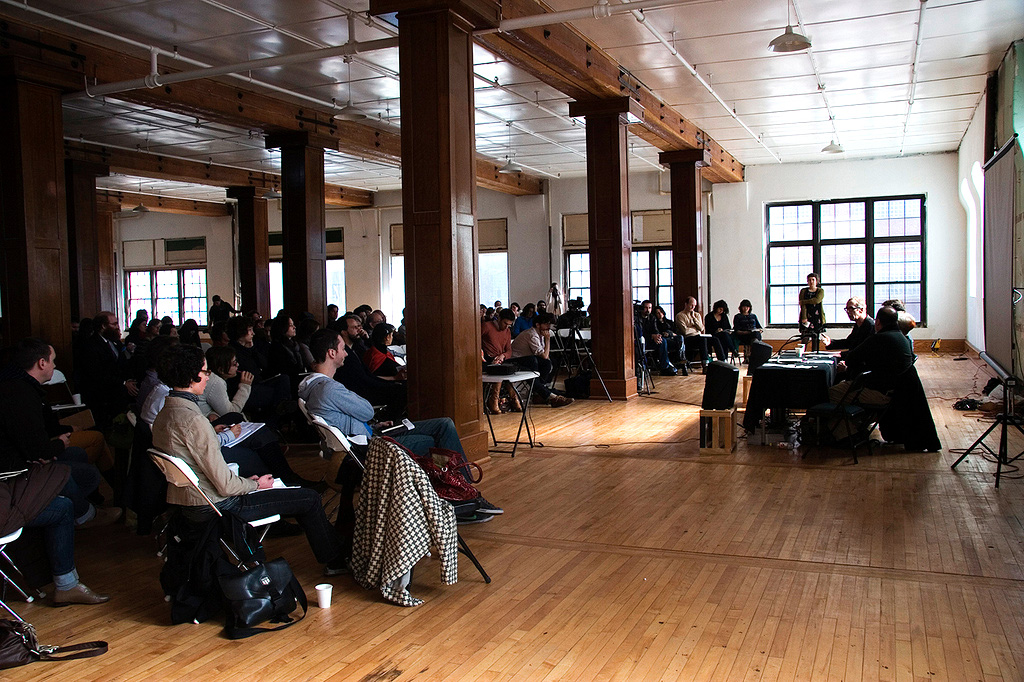 "Far right: Renny Pritikin, Martha Wilson, Lane Relyea, and Mark Allen on ""Archiving Artist-Run Histories,"" a panel at Threewalls' Hand-in-Glove conference, October 2011. Courtesy of Threewalls, Chicago."