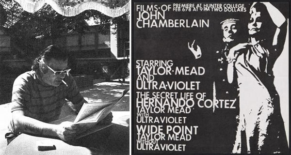 Left: Chamberlain at RAND. Photo © Barbara Crutchfield. Right: Flyer for a screening of films by John Chamberlain, Feb. 1967. Leo Castelli Gallery records, Archives of American Art, Smithsonian Institution.