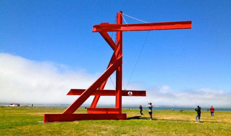 Mark di Suvero, <em>Mother Peace</em>, 1969-70. Painted steel, 42 ft. Installation view at Crissy Field, San Francisco, 2014. Photo: Matty Gilreath.