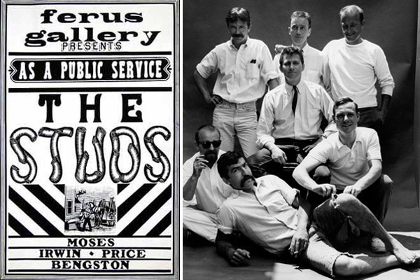 L: Poster for Ferus Gallery's <i>The Studs</i> exhibition, Los Angeles, 1964. Courtesy of Hal Glicksman. R: <i>Ferus Gallery (Billy Al Bengston, Allen Lynch, Robert Irwin, Craig Kauffman, John Altoon, Ed Kienholz, and Ed Moses</i>, Los Angeles, 1958. Photo: Patricia Faure. Courtesy of the Estate of Patricia Faure.
