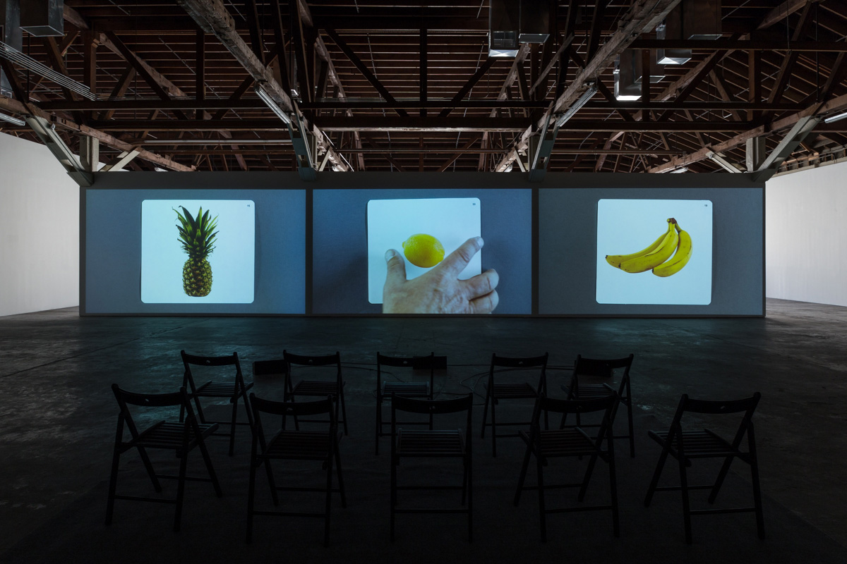 Kerry Tribe, <em>The Aphasia Poetry Club</em>, 2015. Three-channel video with sound, 28:27 minutes. Installation view, The Loste Note, April 10–May 31, 2015, 356 S. Mission Rd. Photo: Fredrik Nilsen Studio. Courtesy the artist and 356 S. Mission Rd.