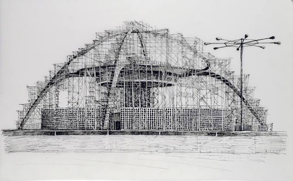 Deborah Aschheim, <em>Theme Building (Now I Miss the Scaffolding)</em>, 2010. Ink on Dura-Lar, 20 x 36 in. Courtesy of Edward Cella Gallery.