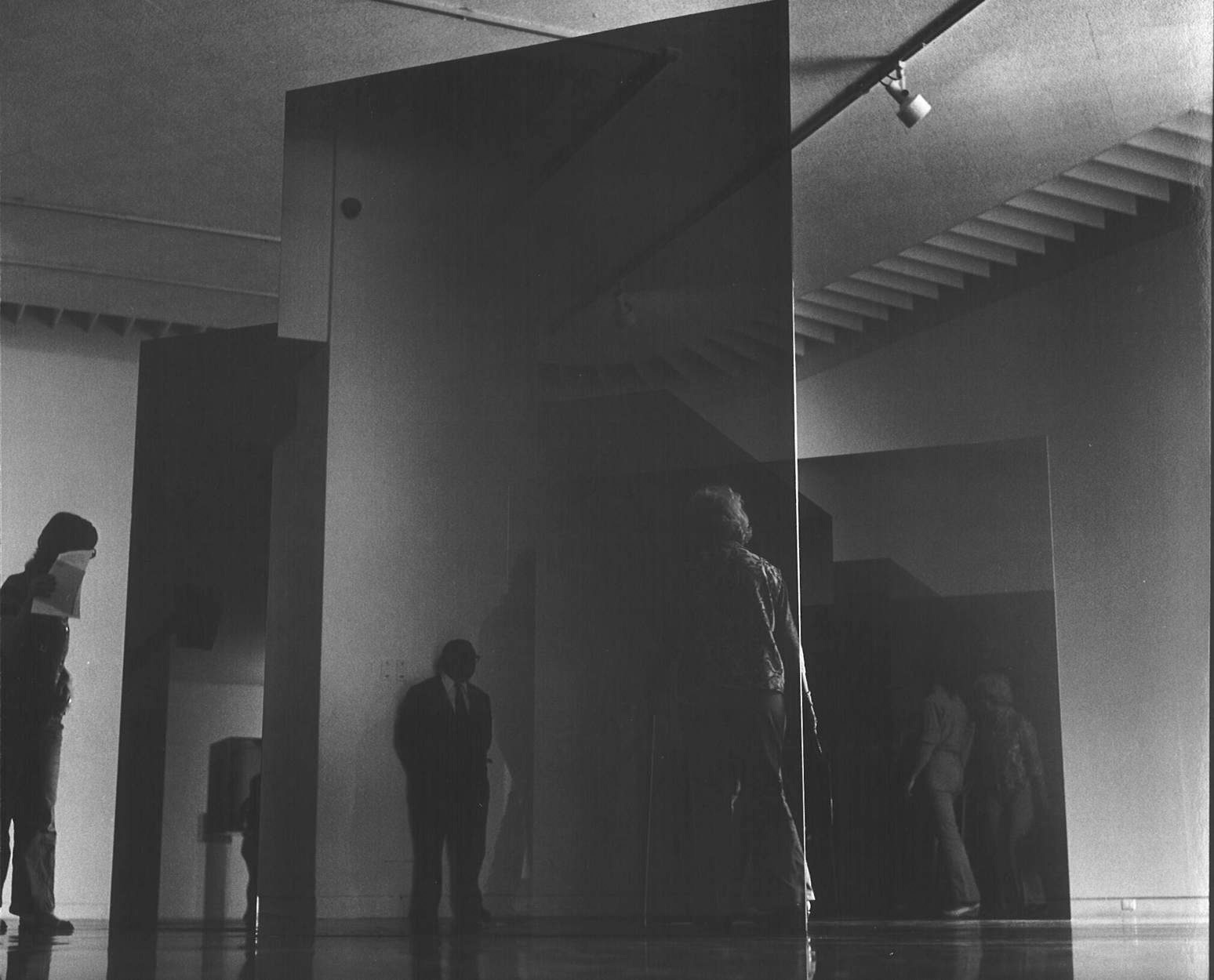 Larry Bell's solo exhibition at the Pasadena Museum of Art, 1972. Photo: Patricia Faure. Courtesy of the estate of Patricia Faure and the Norton Simon Museum Archives.
