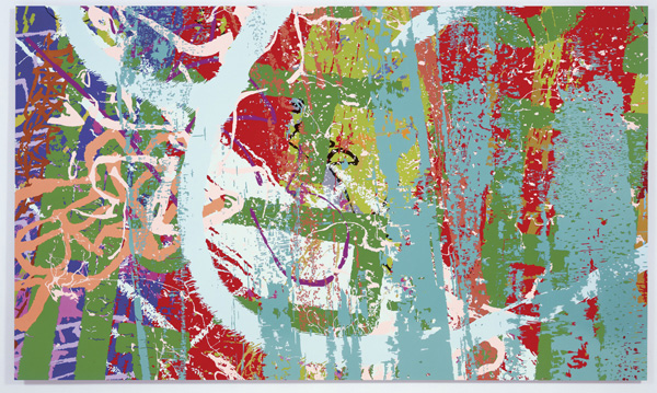 Ingrid Calame, <em>#258 Drawing (Tracings from the Indianapolis Motor Speedway and the L.A. River)</em>, 2007. Enamel paint on aluminum, 6 x 10 ft. Courtesy of the Indianapolis Museum of Art, and the Carmen and Mark Holeman Contemporary Fund.