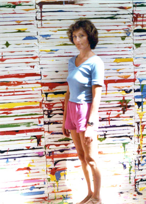 Rosamund Felsen with Richard Jackson's <em>Big Ideas</em>, 1984. Courtesy of the Rosamund Felsen Gallery.