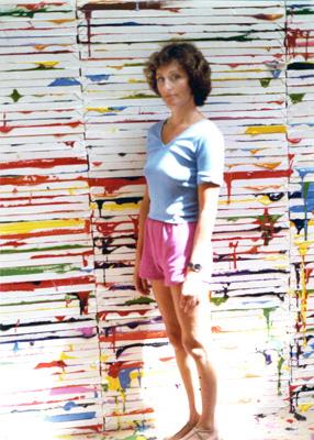 Rosamund Felsen with Richard Jackson's <em>Big Ideas</em>, 1984. Courtesy of the Rosamund Felsen Gallery.