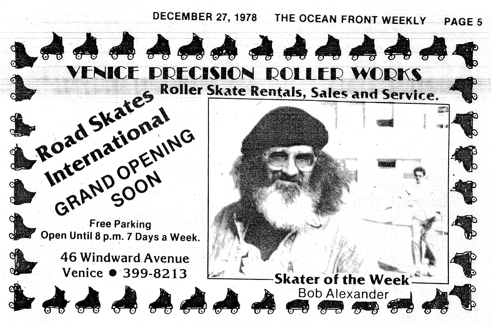 Bob Alexander, Skater of the Week. From <em>The Ocean Front Weekly</em>, December 27, 1978.