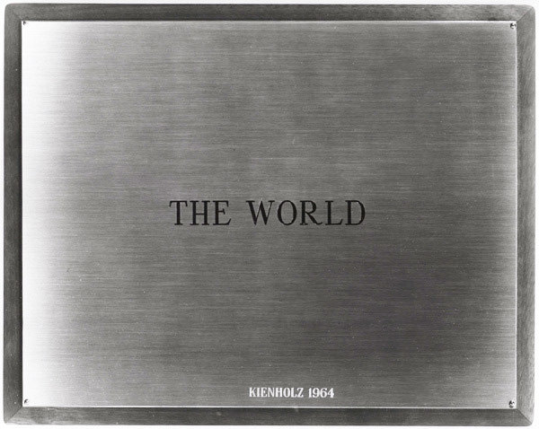 Edward Kienholz, <em>The World</em>, 1964. Concept tableau. Plaque: 9 1/4 x 11 3/4 in. (illustrated). Framed: 13 3/8 x 9 1/4 in. (not illustrated). Copyright Kienholz, Courtesy L.A. Louver, Venice, California.