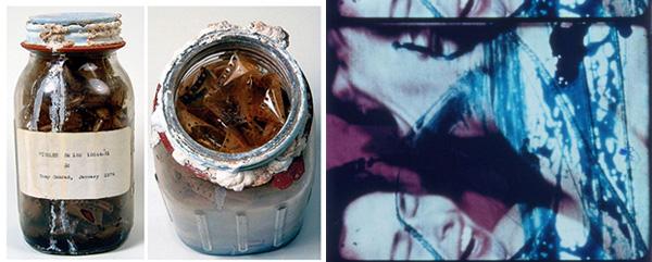 From left: Tony Conrad's jars of pickled film, 1974. Photos: Andrew Lampert. Still from Carolee Schneemann's <em>Fuses</em>, 1965. 16mm film, 18 min.