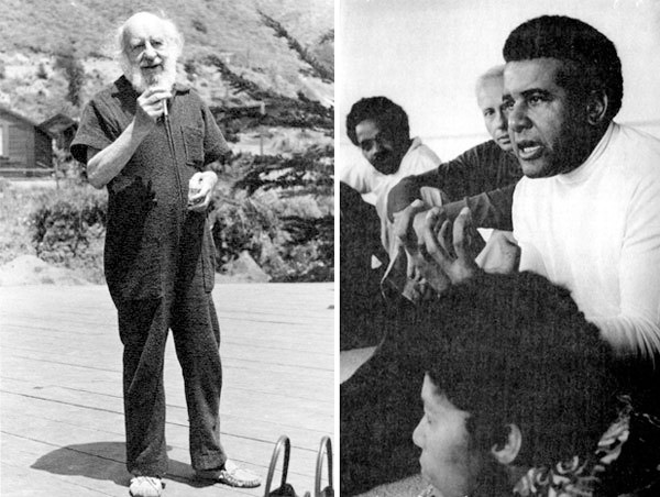Left: Fritz Perls at Esalen, 1967. Photo: Gene Portugal. Courtesy of Pam Walatka. Right: Price Cobbs (right) with George Leonard (center) leading a racial encounter group, 1970. © Paul Fusco/MagnumPhotos.