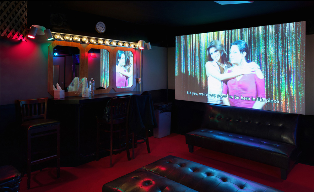 Wu Tsang, <em>Green Room</em>, 2012. Two channel video, mixed media. Installation view, Whitney Museum of American Art, 2012. Courtesy Clifton Benevento Gallery, Los Angeles.