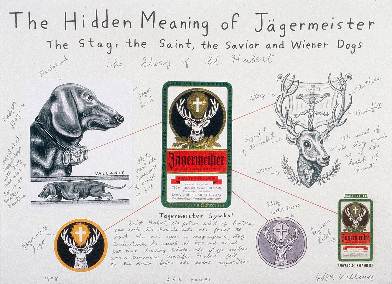 Jeffrey Vallance, <i>The Hidden Meaning of Jagermeister The Stag, the Saint, the Savior, and Wiener Dogs</i>, 1998. Mixed media on paper, 22 x 30 inches.