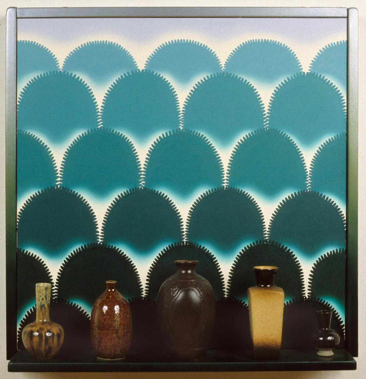 Roger Brown, <em>Virtual Still Life #8: Vases With A View</em>, 1995, oil on canvas, mixed media, 25 x 25-1/2 x 7 in. © The School of the Art Institute of Chicago and the Brown family.