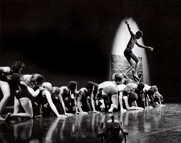 <em>Ceremony of Us</em>, 1969. Choreographed and performed by Anna Halprin, San Francisco Dancers' Workshop and Studio Watts School for the Arts. Performance at the Mark Taper Forum, February 27, 1969. Photo courtesy of Anna Halprin.