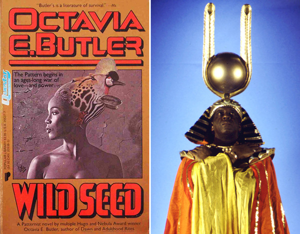 Left: Cover of Octavia E. Butler, <em>Wild Seed</em>, 1980. Right: Sun Ra in <em>Space is the Place</em>, 1974.
