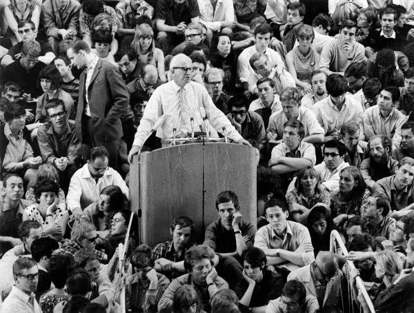 Herbert Marcuse giving a speech during a demonstration at the Free University of Berlin, 1967. Jung - ullstein bild / The Granger Collection, NYC.