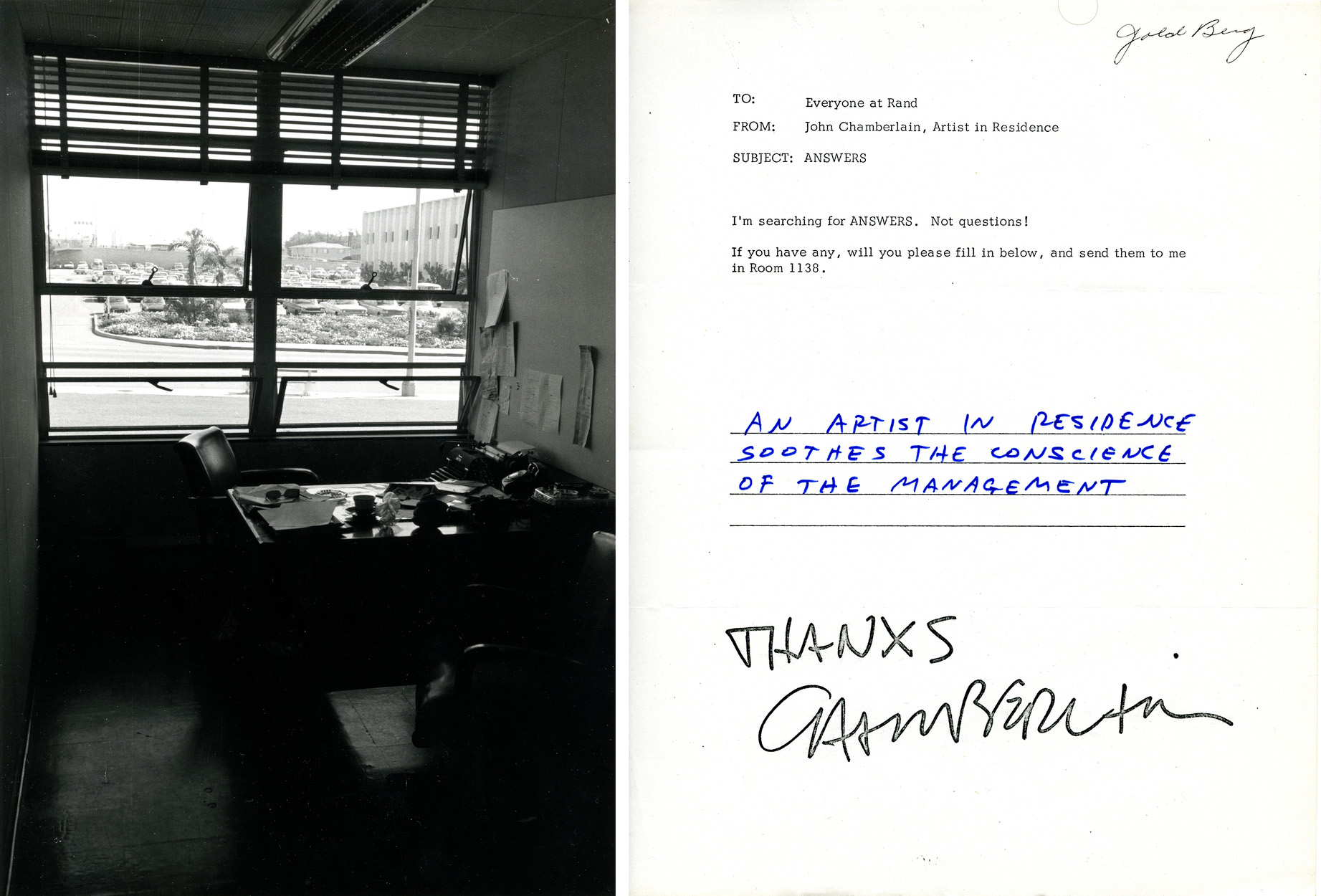 Left: Chamberlain's office at Rand. Photo © Barbara Crutchfield, courtesy LACMA archives. Right: A questionnaire seeking answers sent to the employees of Rand Corporation by Chamberlain as part of his Art and Technology piece, <i>Rand Piece</i>, 1970. Copyright: © 2015 John Chamberlain / Artists Rights Society (ARS), New York. Photo © Museum Associates/ LACMA