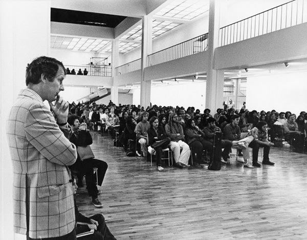 Corrigan at student convocation, 1971. Photo: Barry Hyams. Courtesy of the California Institute of the Arts Archive.