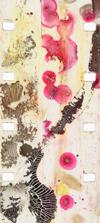 Jennifer West, filmstrip from <em>Regressive Squirty Sauce Film (16mm film leader squirted and dripped with chocolate sauce, ketchup, mayonnaise & apple juice),</em> 2007. 3 min, 36 sec.