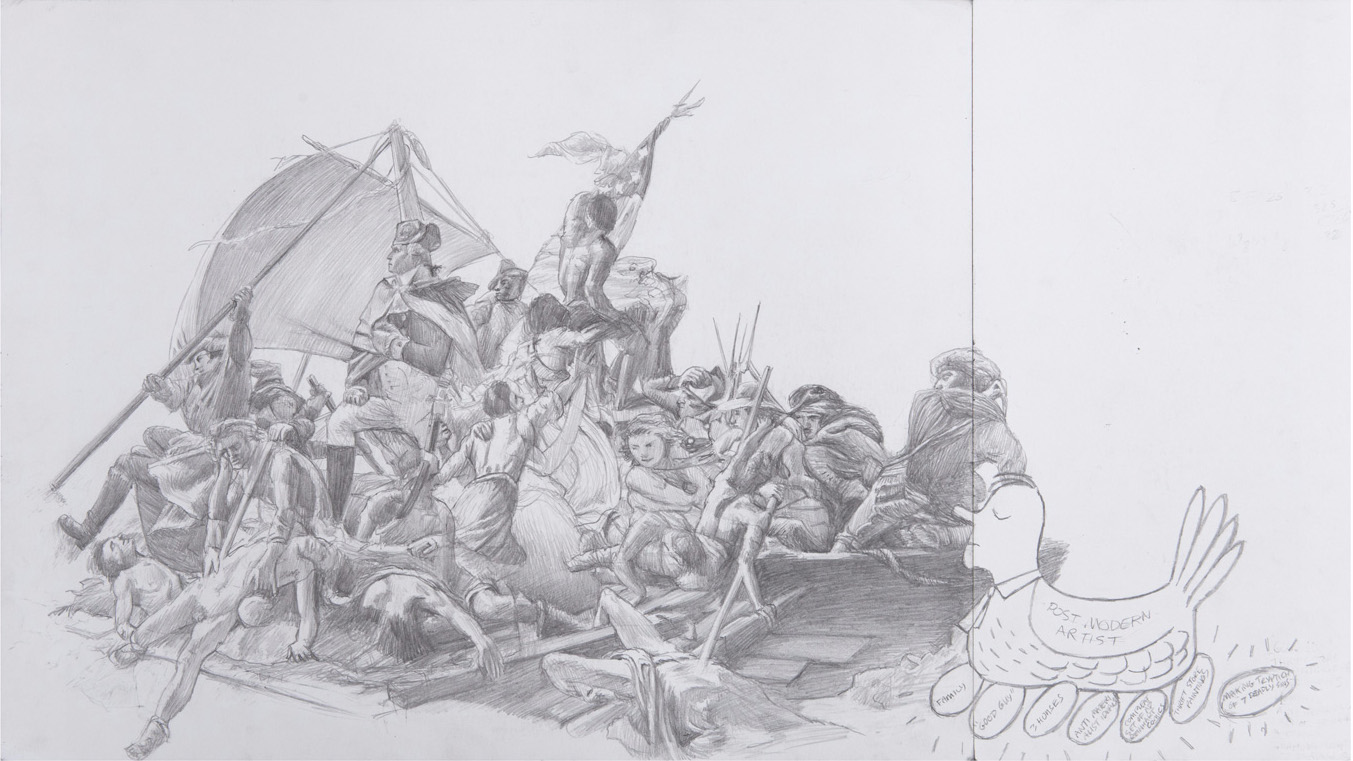 "Jim Shaw, <em>Study for ""Seven Deadly Sins"", Pride,</em> 2013. Pencil on paper, 11 x 19.5 inches. Courtesy of the artist and Blum & Poe, Los Angeles."