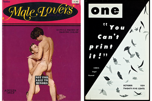 Left: Male Lovers. Right: ONE Magazine, courtesy of ONE Archives at the USC Libraries.