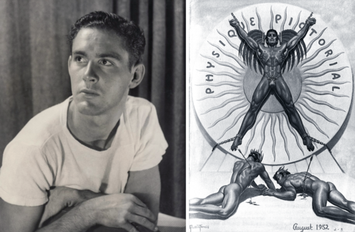 Left: Bob Mizer ca. 1945. Right: Cover of Physique Pictorial, August 1952. © The Bob Mizer Foundation, Inc.